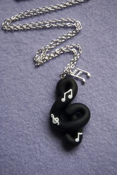 Collana Chiave di Violino con note in fimo (nero)