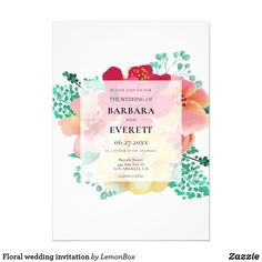 Elegant floral watercolor wedding invitation, Colorful bouquet invitations with a stylish calligraphy, fully customizable. Graduation Party Invitations, Simple Wedding Invitations, Watercolor Wedding Invitations, Wedding Invitation Cards, Invitation Card Design, Floral Invitation, Custom Invitations, Floral Watercolor, Wedding Decoration