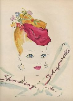 Hungarianpainter, printmaker and illustratorMarcel Vertes (1895-1961) was full of whimsy, as evidenced in the gorgeous series of ads he concocted for ElsaSchiaparelli's 1937 scent Shocking Pink.