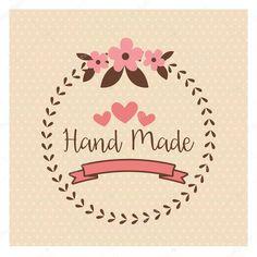 Hand Made label, handmade crafts workshop — Stock Vector . Logo Sp, Cafe Logo, Logo Restaurant, Diy Art Projects Canvas, Logo Online Shop, Cake Logo Design, How To Make Labels, Craft Quotes, Patch Aplique
