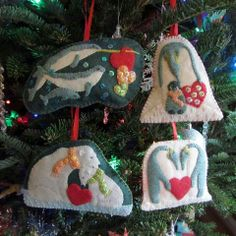 Penguin and other felt ornaments