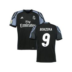 Karim Benzema Real Madrid adidas Youth 2016/17 Third Replica Jersey - Black - $84.99