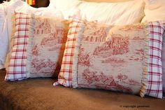 Romantic cushions with squares and toile by nirajasa, via Flickr