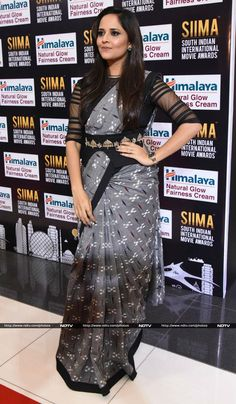 Anusuya Bharadwaj won Best Supporting Actress prize for her role in Telugu film Kshanam - Half Saree Designs, Saree Blouse Neck Designs, Fancy Blouse Designs, Bridal Blouse Designs, Saree Models, Blouse Models, Stylish Blouse Design, Designer Blouse Patterns, Gowns