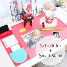 Kawaii Cute Candy Color Rubber Office Mat Multifunctional Weekly Plan Organizer Large Desk Table Storage Memo Mat Learning Pad