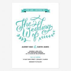 Lovely Lettering Wedding Invitations www.lovevsdesign.com