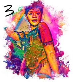 Rihanna Colourful Ink Edit PRINT Poster RiRi Threading of Print, Poster Prints, Drawings, Painting, Oil Painting, Art, Celebrity Art, Ink, Color