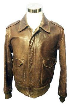 Schott 674 MS Leather A-2 Flight Jacket Men's Size 44, Vintage Brown Bomber  Jacket