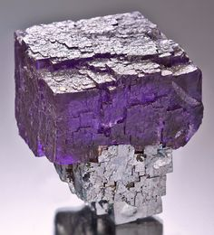 Fluorite cube draped atop a lustrous Galena cube -- From the Elmwood Mine, Smith County, Tennessee