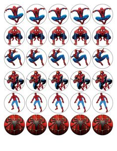 30 X Spiderman Top Quality Edible Wafer/Rice Paper Cup Cake Toppers Avengers Birthday, Superhero Birthday Party, Fête Spider Man, Spiderman Stickers, Bottle Top Crafts, Edible Printing, Butterfly Drawing, Bottle Cap Images, Idee Diy