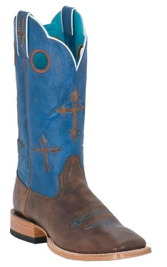 Ariat Ranchero Men's Brown with Crosses on Blue Top Square Toe Cowboy Boots
