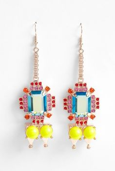 Mawi pyramid and gem stone earrings. They make pink, red and neon yellow look like they are a match made in  heaven.