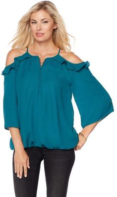 Colleen Lopez Collection Colleen Lopez Lady of the Hour Cold-Shoulder Ruffle Blouse