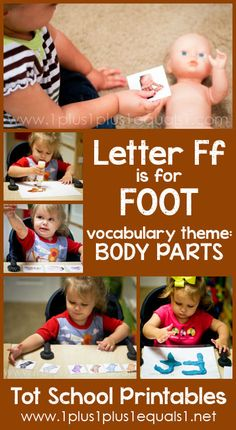Tot School Printables Letter F is for Foot ~ a free program for toddlers from @{1plus1plus1} Carisa #totschool