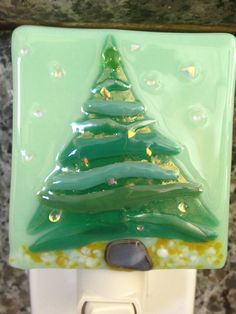 Pine Tree with Sparkly Snow Fused Glass Night Light. $25.00, via Etsy.