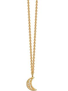 ASTLEY CLARKE Mini moon 18ct yellow-gold plated pavé necklace