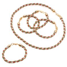 Christmas Kumihimo 5 Projects: Necklace and Bracelets Kit