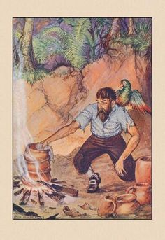 Robinson Crusoe: I Wanted No Sort of Earthenware 24x36 Giclee