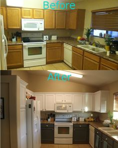 """My kitchen makeover under $200! Crown moulding, two tone paint, and hardware. (Hardware target Threshold $60 for 6 drawers and 19 doors, crown moulding lowes $12 for 8 ft bought 4 boards, white primer Valspar bonding primer $20, White paint 2 quarts Valspar latex enamel satin White $9 each, grey paint 1 gallon $28 Valspar paint + primer interior latex satin """"ocean Storm"""" used only about a half gallon of the grey)"""