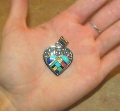 Sterling Silver Multicolor Inlay Heart Pendant www.silvertribe.com