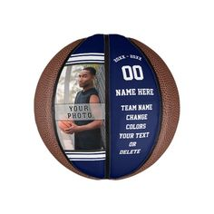 Navy Blue and White PHOTO Custom Mini Basketballs - tap to personalize and get yours #players, #player, #coach, #navy #blue, Personalized Basketball, Custom Basketball, Basketball Gifts, Love And Basketball, Basketball Pictures, Team Pictures, Team Photos, Navy Blue, Purple