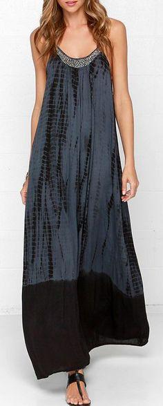 Beaded Grey Tie-Dye Maxi Dress