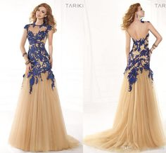 Wholesale Evening Dresses - Buy Sexy New Sheer Backless Mermaid Formal Evening Prom Dresses Champagne Tulle Blue Appliques High Neck Tarik Ediz Wedding Party Gowns 2014, $136.65 | DHgate