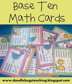 FREE..Base Ten Math Cards...I will more thank likely number these cards and use them as a center activity. I will have a recording sheet for my first graders to write their answer.