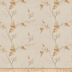 Fabricut Linen Embroidered Twill Brookdale Butterscotch from @fabricdotcom  This embroidered sanded twill blend fabric is medium/heavyweight and perfect for window treatments, bedding such as duvet covers, pillow shams, accent pillows and upholstery. This fabric features a soft hand and an embroidered design. Colors include yellow, gold, amber and natural on an oatmeal background.