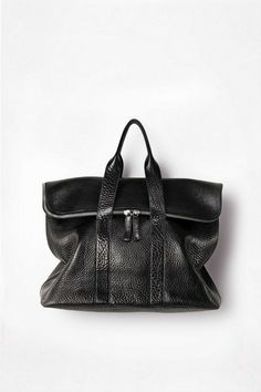 3.1 PHILLIP LIM. '31 HOUR' BAG IN POLISHED COW LEATHER, FEATURING DOUBLE HANDLES AND FOLDOVER TOP WITH TWO-WAY ZIPPER CLOSURE. GUNMETAL HARD...