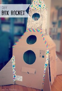 DIY Cardboard Rocket Ship Calm Down Squish Box | Perfect for pretend play, reading nook, or calm down sensory retreat