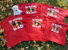 Get you and your family a wonderful Customized The Incredibles Pixar Disney themed t-shirt set to enjoy throughout the holidays. Perfect for your family trip to any and all Disney theme parks! Please list all customization requests (names, shirt sizes and design styles) in the Note to Seller box, Thank You! For the Bulk set purchases please pick the shirt sizes and quantities you would like from the available sizes listed below and message us in the Note to Seller box. (If you dont see the…