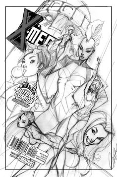 Art in progress for the X-Men #1 Midtown Comics exclusive variant cover by J. Scott Campbell!