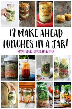 17 Statisfying Make Ahead Mason Jar Lunches - Lunch Snacks Mason Jar Lunch, Mason Jar Desserts, Mason Jar Meals, Meals In A Jar, Mason Jar Diy, Mason Jar Recipes, Berry, Pots, Boite A Lunch