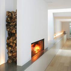 Living Room Wood Burner Firewood Storage Ideas For 2019 Home Fireplace, Fireplace Design, Metal Fireplace, Fireplace Modern, Fireplace Ideas, Contemporary Fireplaces, Small Fireplace, Electric Fireplace, Moderne Lofts