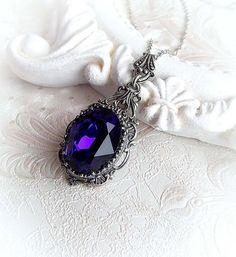 Romantic purple Swarovski crystal pendant gothic by MidnightVision