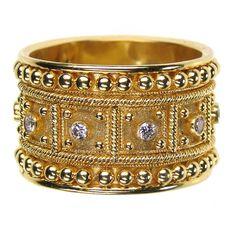 Damaskos Diamond Block Ring. 18k Gold and Diamonds. Greek jewelry at www.athenas-treasures.com