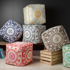Add a splash of additional seating to your with this floral pouf. Made from 100-percent cotton, this contemporary pouf is suitable for various room designs. The product is square, which makes it ideal for draping over a foot stool.