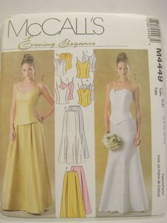 Womens Clothing #Pattern #Formal Dress #Bridal Prom 2 Piece MCCALLS 4449 14-20  #sewing #forsale