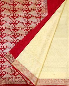 Cream Designer Art Silk Jamdani Banarasi Silk Sari Online for Women Banarasi Sarees, Silk Sarees, Teal Green Color, Beautiful Saree, Mauritius, Saree Wedding, Hand Weaving, Sari, Colours