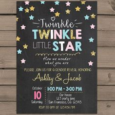 Twinkle Twinkle Litte Star Gender reveal invitation party invite He or She Boy…