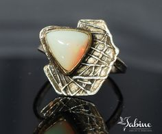Opal ring Sterling silver opal ring Wave ring by SabineJewelry