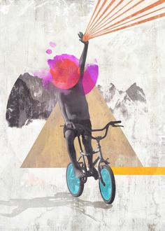 """Rainbow child riding a bike"" by Mihalis Athanasopoulos on Displate #collage #child #kid #bike #mountain #triangle #displate"
