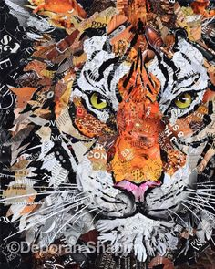 I recently read an article on how few tigers are left in the world and this collage is my tribute to this beautiful creature. Lots of interesting images in this one. I think my favorite part are the h