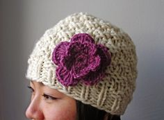 Chunky Hat with daisy
