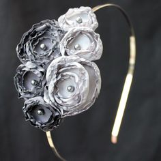 Gray flower headband. Pretty! @Colleen Sweeney Mace-- make it in all Rainbow colors...