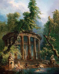 "Aqua Regia - ""The Bathing Pool"" - Hubert Robert Classic Paintings, Old Paintings, Beautiful Paintings, Rennaissance Art, Renaissance Paintings, Nature Aesthetic, Greek Art, Classical Art, Art Abstrait"