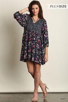 Plus Size Mini Dress Tunic Urban Boho Peasant Navy Floral XL 1XL 2XL