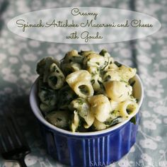 Creamy Spinach Artichoke Macaroni and Cheese with Gouda