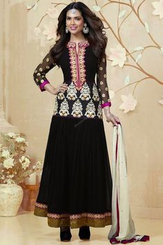 Black Shantoon Churidar Suit with Chiffon Dupatta New arrival Churidar Collection now in store presented by Topkart Fashion like Black Shantoon Churidar Suit with Chiffon Dupatta. Embellished with Embroidered, Resham, Stone,Full Sleeve Kameez, Floor Length Kameez, Chinese Collar Kameez. This is prefect for Party, Festival, Casual